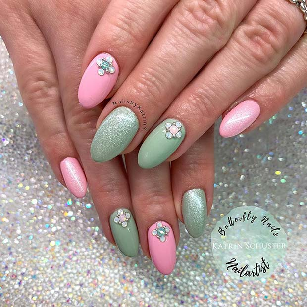 Pastel Pink and Green Nails