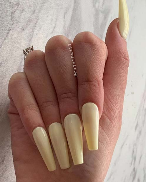 Pastel Yellow Coffin Nails