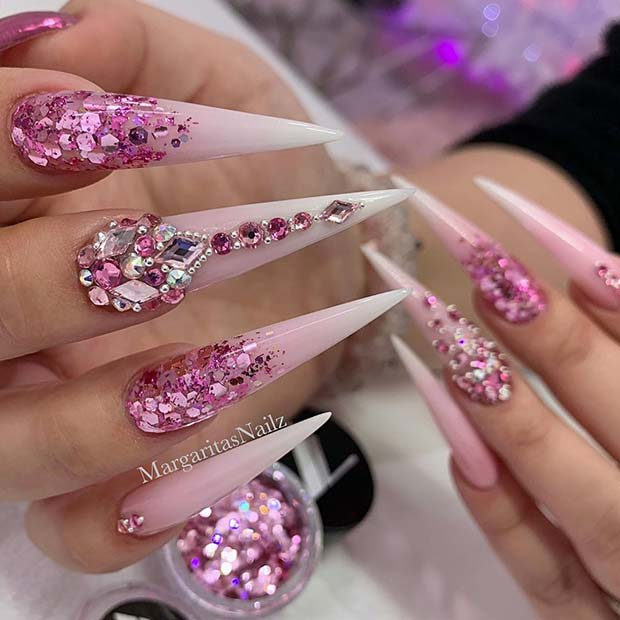 Pink Glitter Ombre Stiletto Nails with Rhinestones