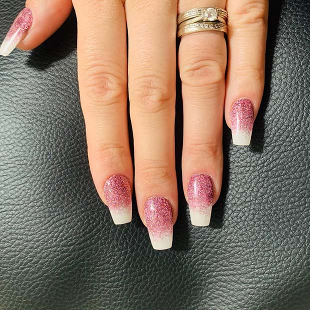 Pink Glitter with White Tips