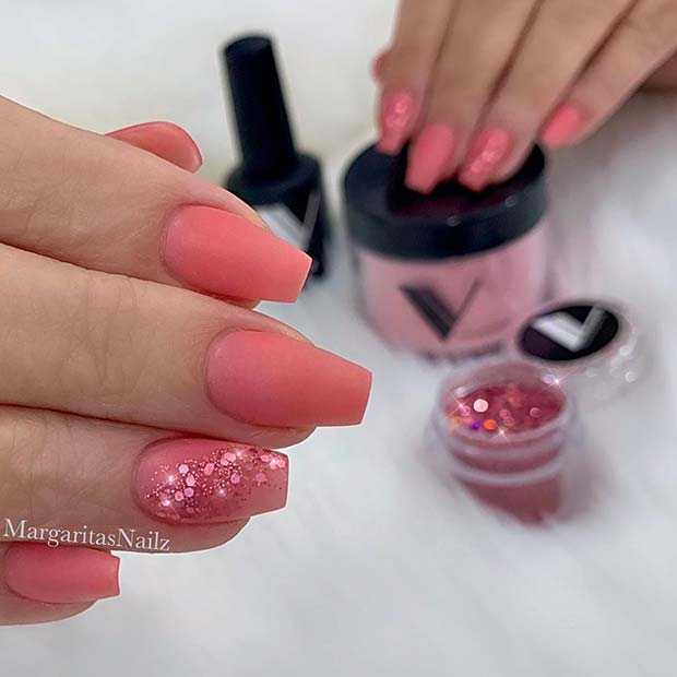 Pink Matte Nails with Glitter