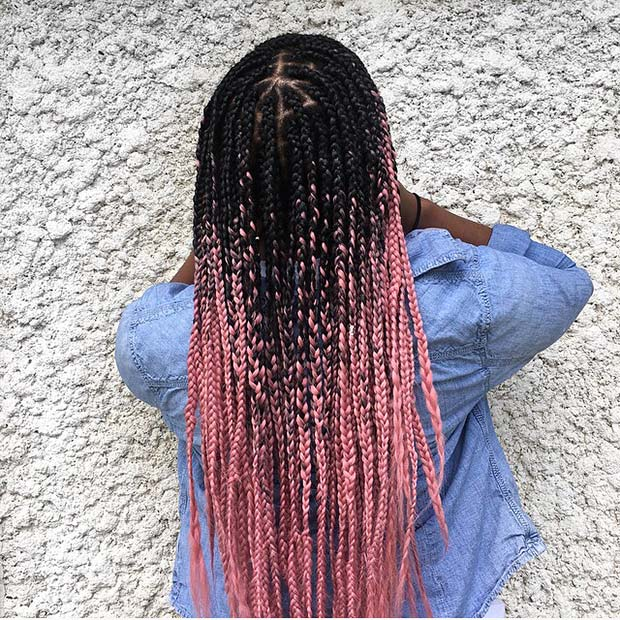 Black and Pink Ombre Braids