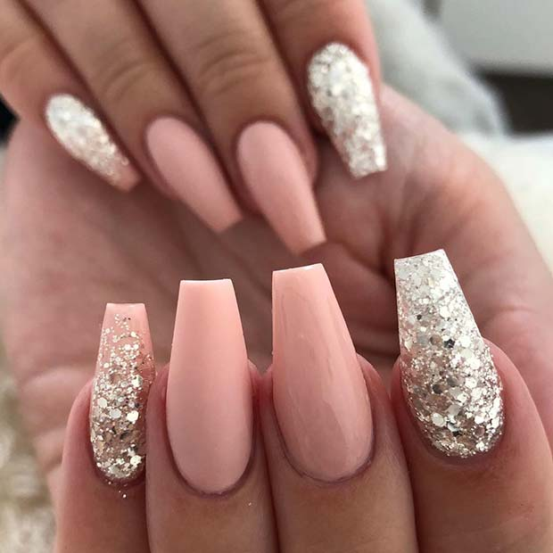Simple Nude and Silver Glitter Coffin Nails