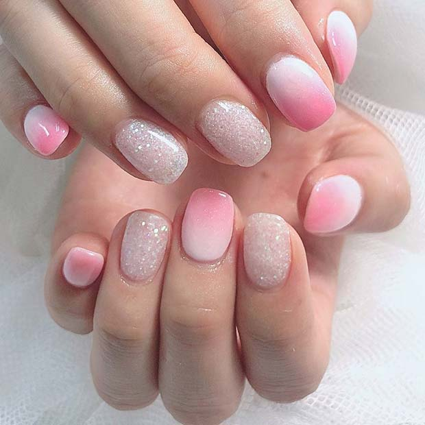Pink and White Short Ombre Nails