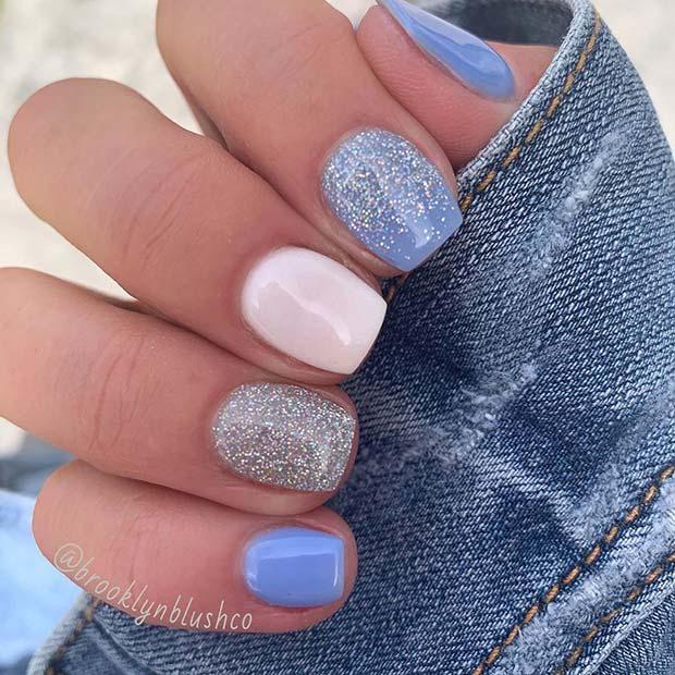 Pretty Blue Dip Nail Design