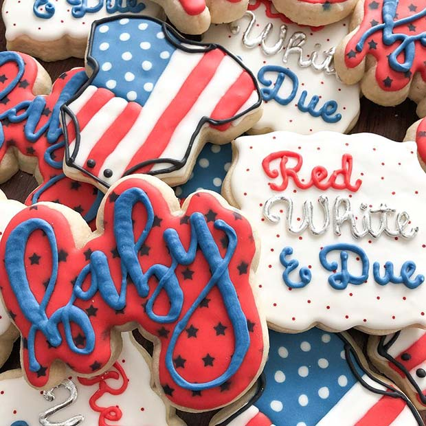 Red, White and Due 4th of July Cookies
