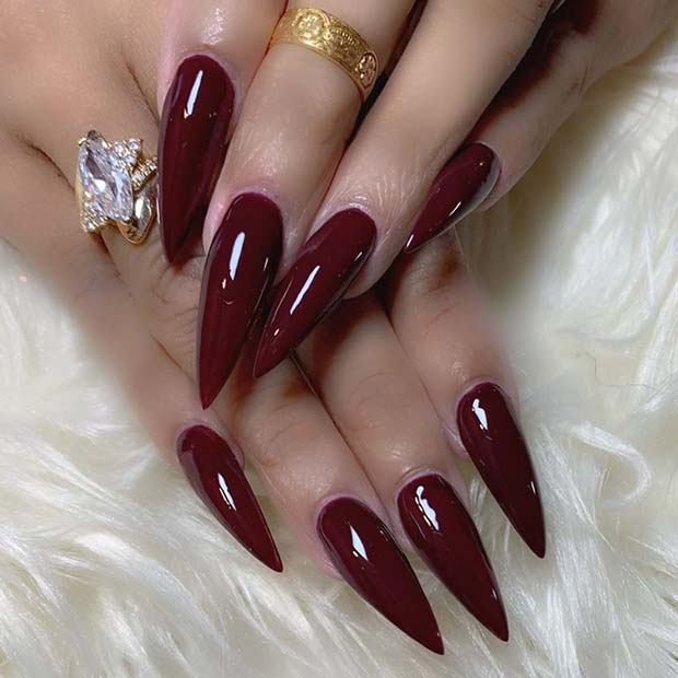 Sharp Stiletto Maroon Nails