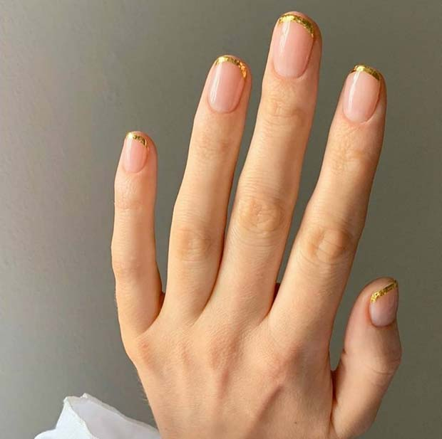 Short Nails with Gold Foil Tips