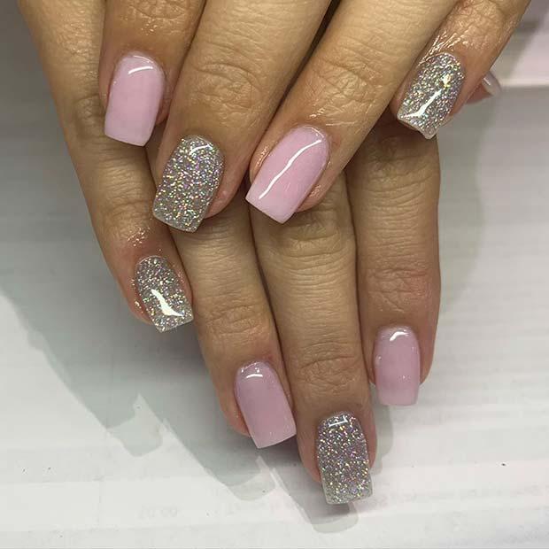 Silver Glitter and Light Pink Mani