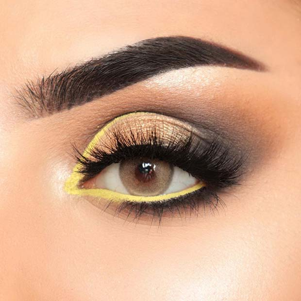 Smokey Eyes with a Flash of Yellow