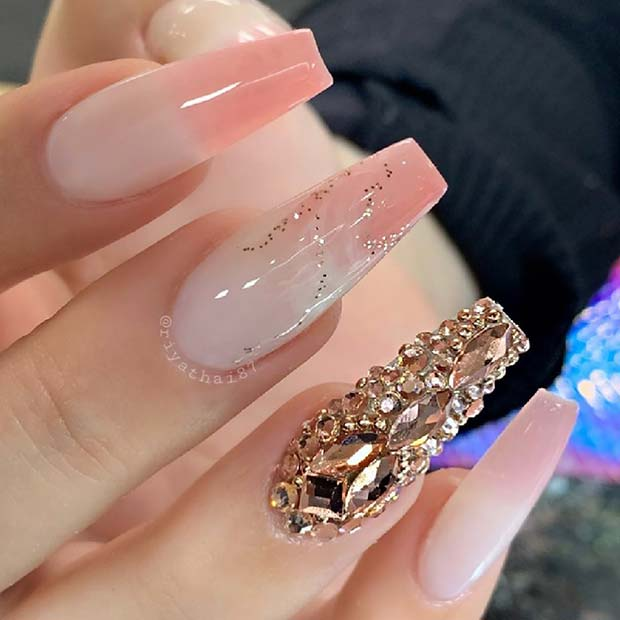Soft White, Pink and Gold Nails