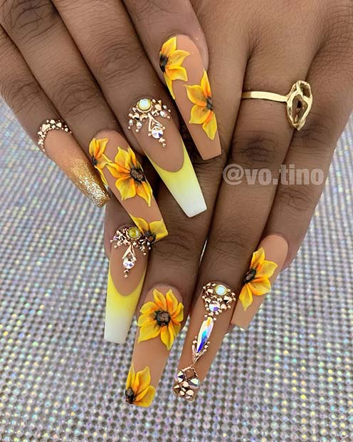 Bold Sunflower Nails with Rhinestones
