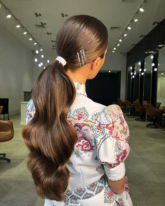 Stylish Low Ponytail for Long Hair