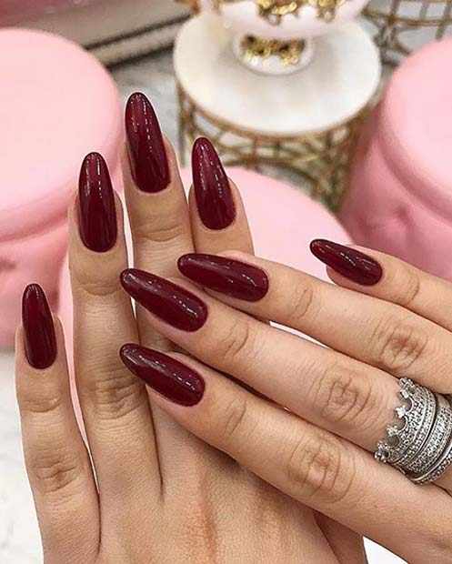 Simple Maroon Nail Idea
