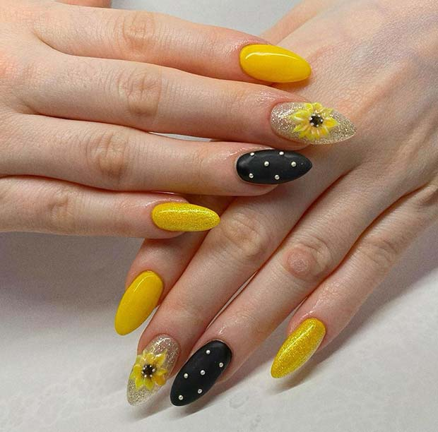 Stylish Sunflower Nails