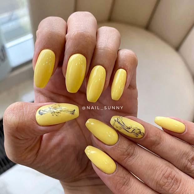 Stylish Yellow Mani