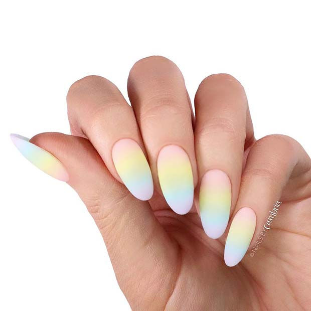 Subtle Rainbow Nail Art