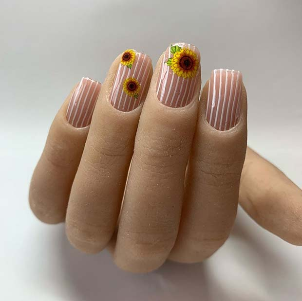 Sunflowers and Stripes Nail Art