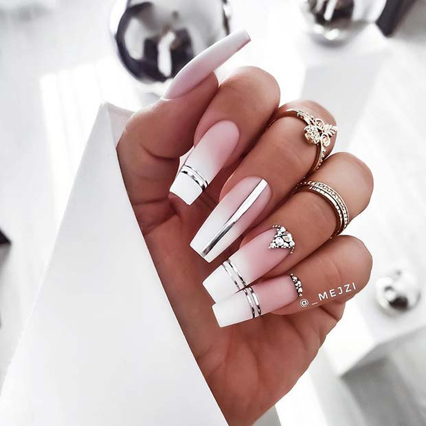 Matte French Ombre Nails with Silver Details