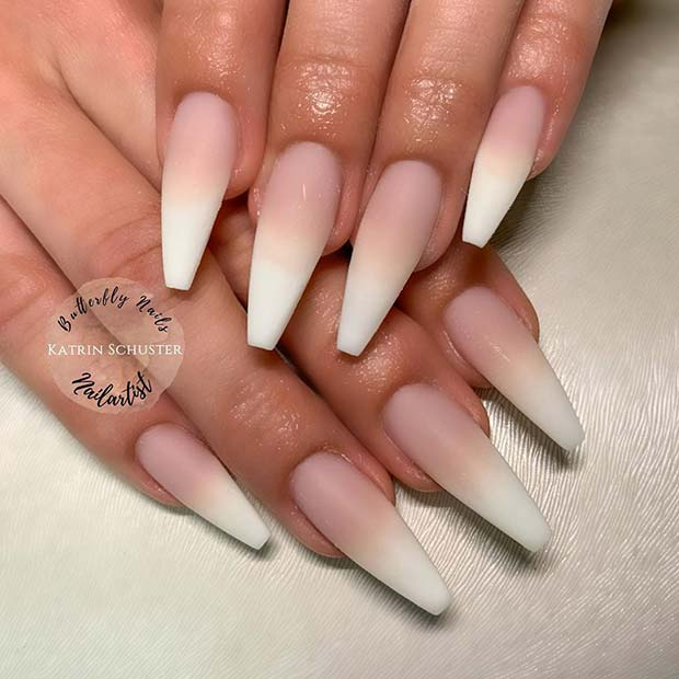 Trendy Matte French Ombre Nails