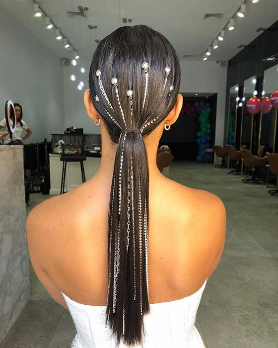 Trendy and Accessorized Ponytail
