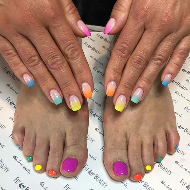 Vibrant Mani and Pedi Idea for Summer
