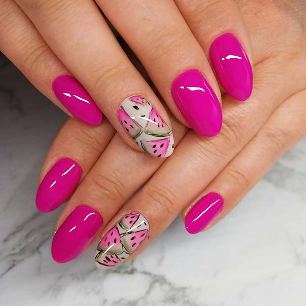 Vibrant Pink Oval Nails with Watermelon Art