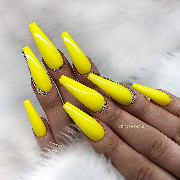 Vibrant Yellow Coffin Nails