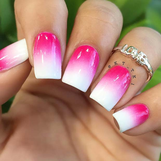 Vivid Pink and White Ombre Nails