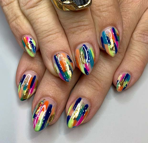 Colorful Nail Design for Short Nails