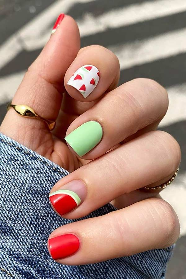 Watermelon Nail Design for Summer