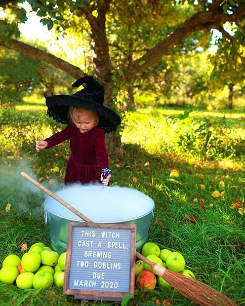 Little Witch Theme Pregnancy Announcement