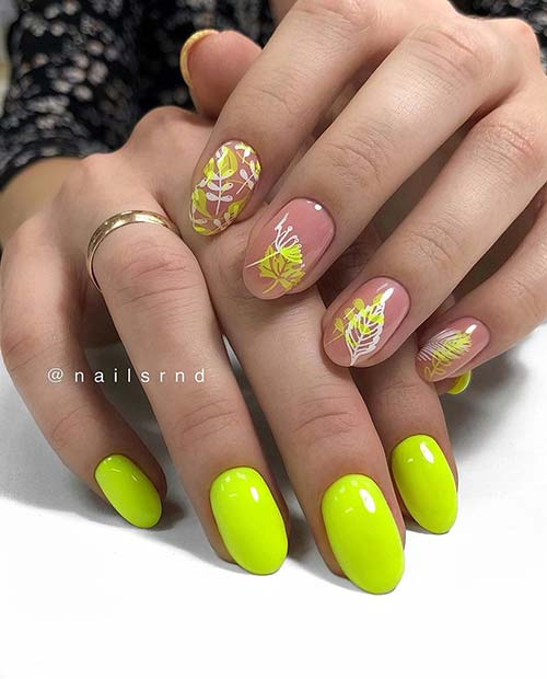 Short Yellow Nails with Botanical Art