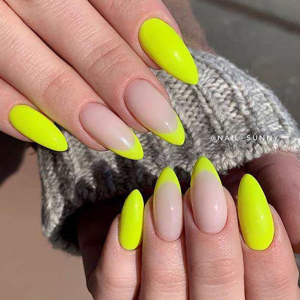 Yellow Tips and Bold Yellow Nail Color