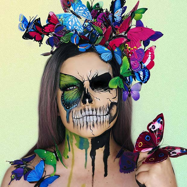 Beautiful Butterfly Design with a Scary Skeleton Illusion