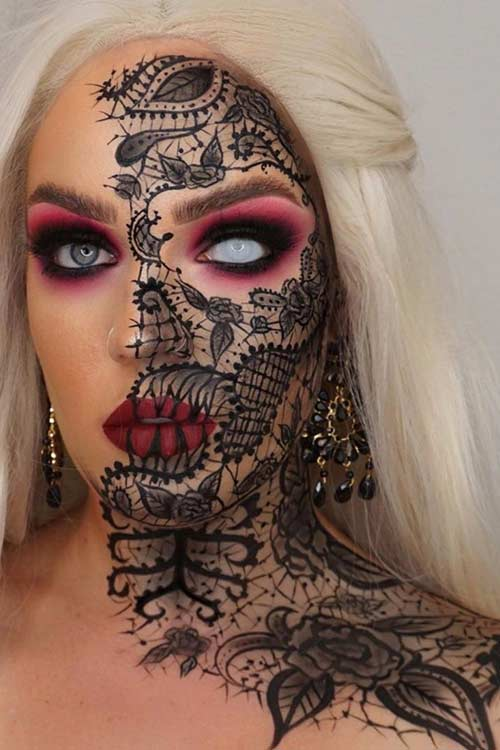 Black Lace Halloween Makeup