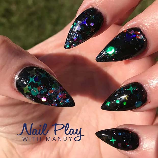 Black Stiletto Nails with Sequins