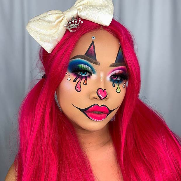 Bold Girl Clown Makeup