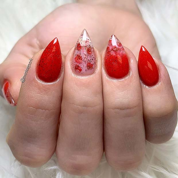 Bold Red Stiletto Nails