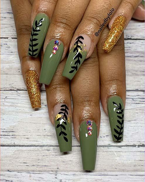 Botanical Nail Art with Rhinestones