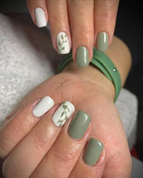 Botanical Design for Short Nails