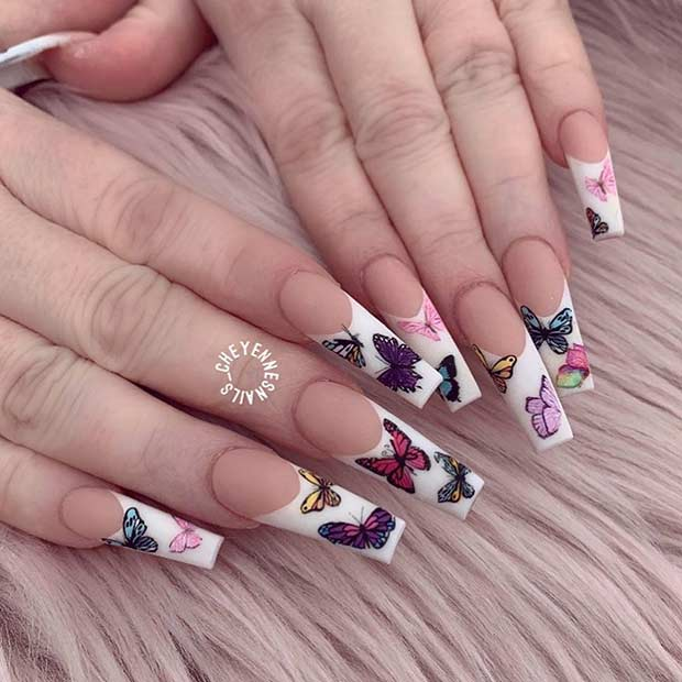 Butterfly Nails with White Tips