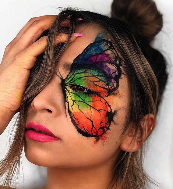 Colorful Butterfly Makeup