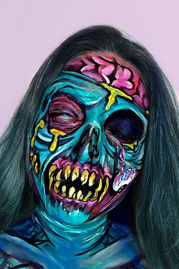 Colorful Zombie Makeup Look
