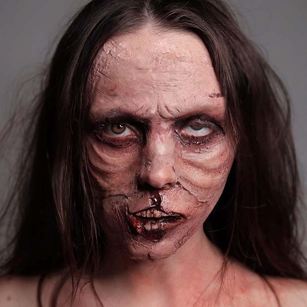 Creepy Zombie Illusion Makeup Idea