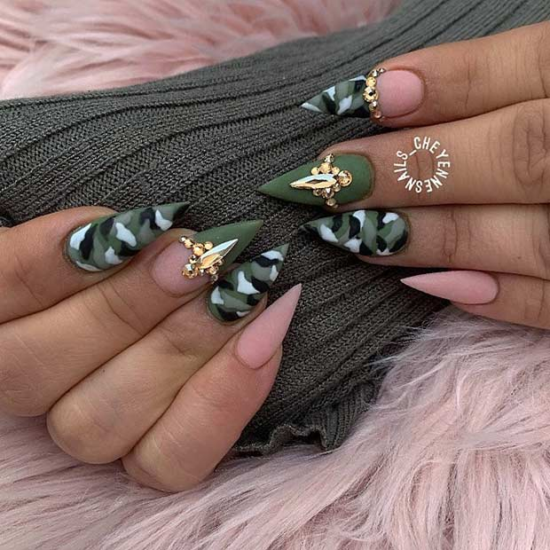 Cute Camo Nail Art Design