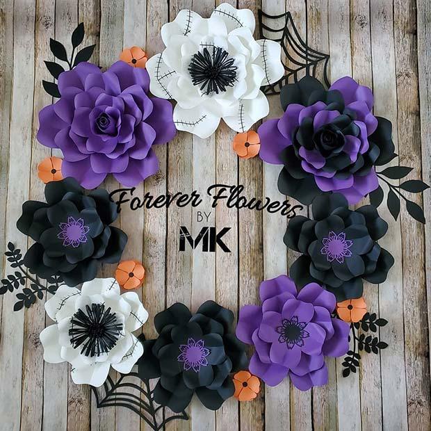 Cute Floral Wreath with a Halloween Theme