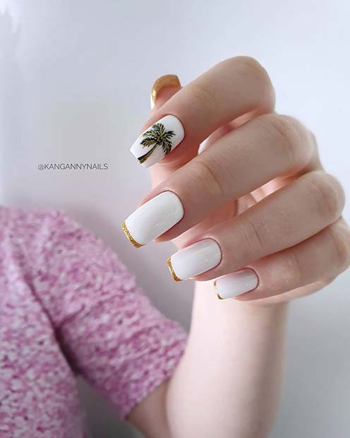Cute Nails with a Palm Tree and Gold Tips