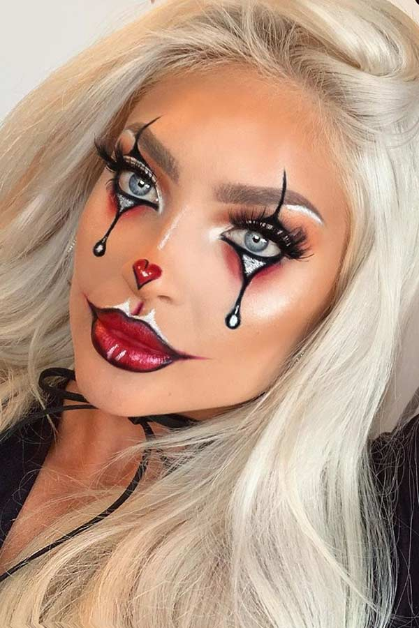 Easy Clown Makeup with Heart Nose