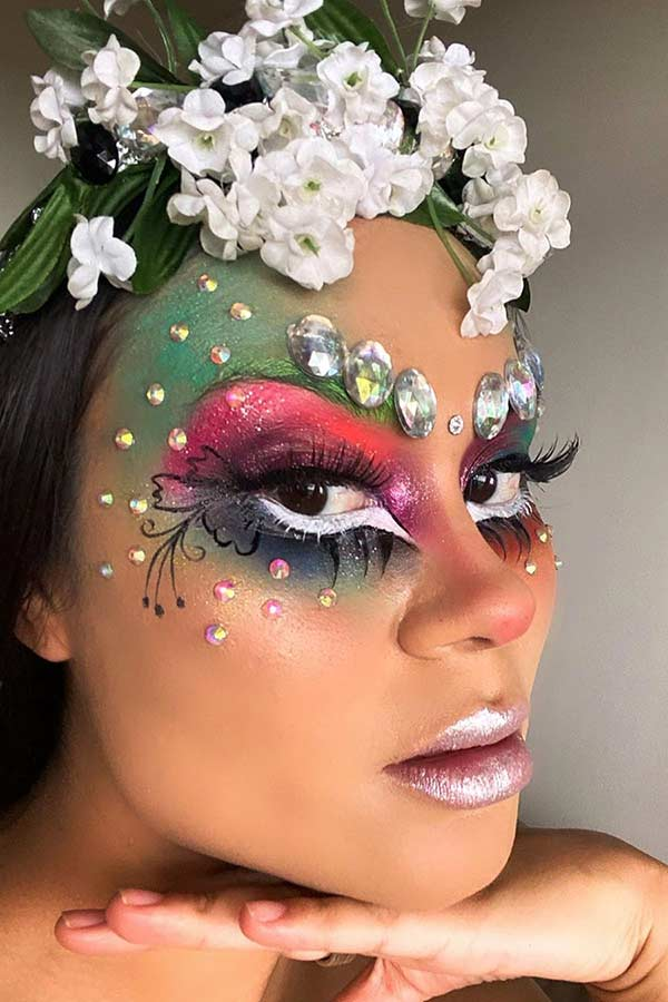 Fairy Makeup with Rhinestones